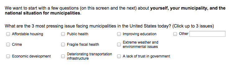 Figure 2. Most Important Issues Facing Cities in the United States